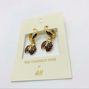 H&M X Vampire's Wife Gold Color Ladybug Earrings